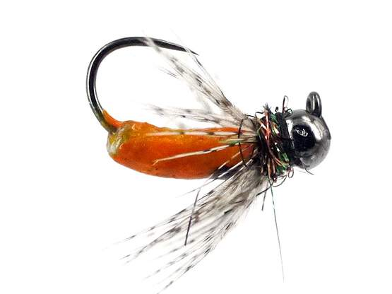 FC Hackled Jig Orange BL TG